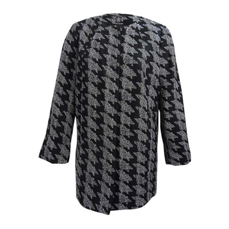 Animal Jacquard Jacket (Alfani Women's Prima Houndstooth Jacquard Topper Jacket (XL, Black/White) )