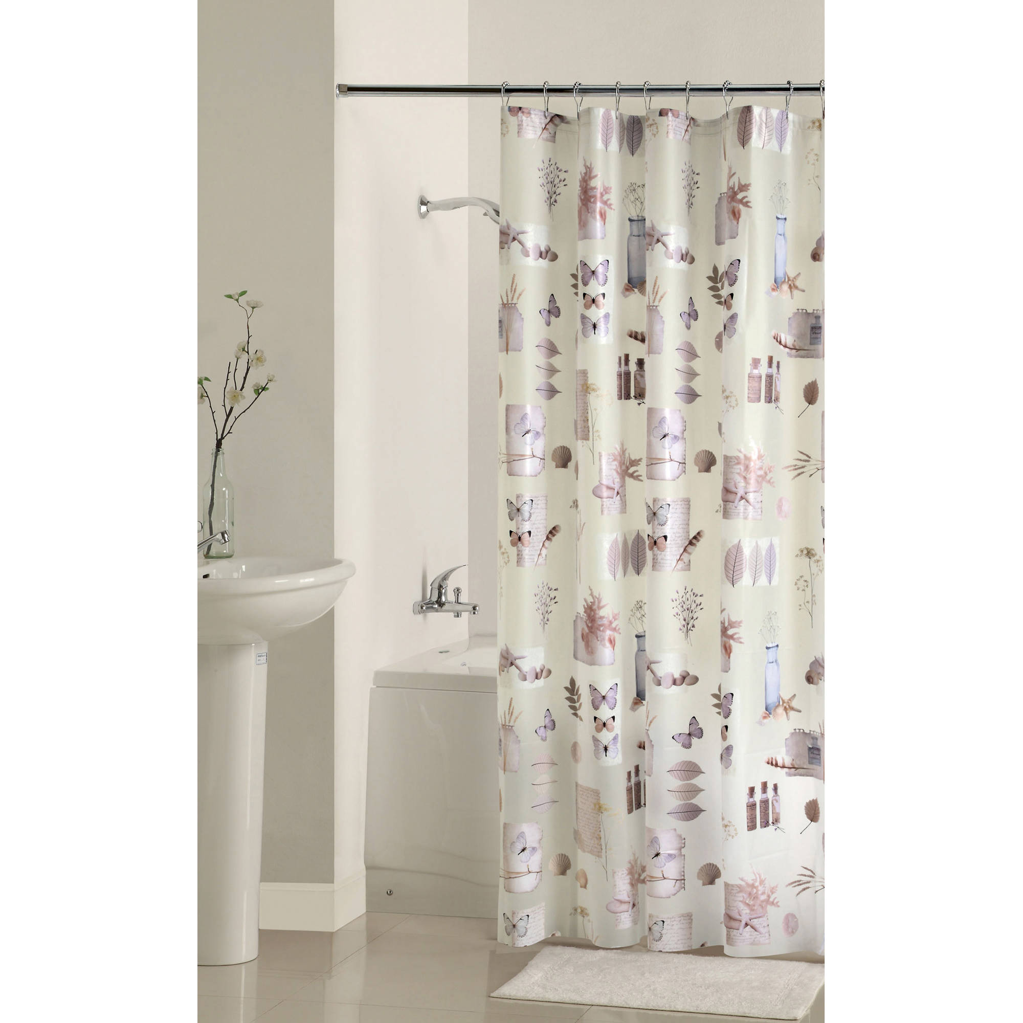 Mainstays Bamboo Nature's Momemts PEVA Shower Curtain