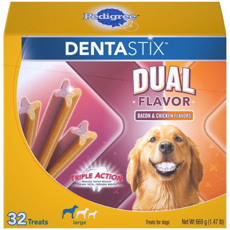 - Pedigree Dentastix Dual Flavor Large Dog Treats, Bacon & Chicken Flavors, 1.47 Lbs. (32 Treats)