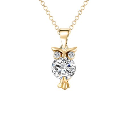 Crystal Zircon Owl Necklace Pendant 18 Karat Gold Plated Tarnish Resistant J-58