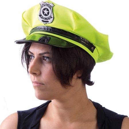 Neon Green Blacklight Glowing Police Halloween Hat