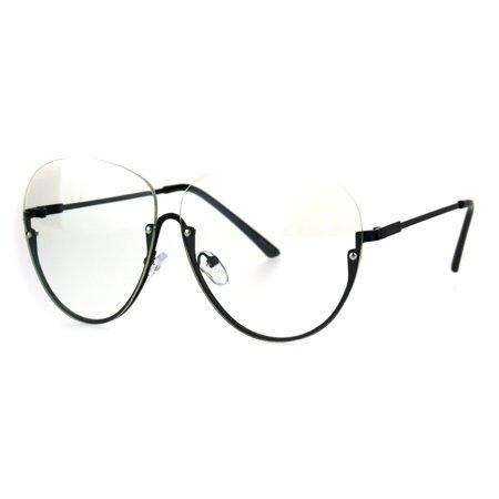 Womens Upside Down Half Rim Granny Oversize Clear Lens Eye Glasses - Black Rimmed Glasses
