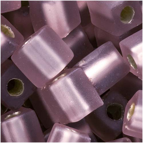 Miyuki 4mm Glass Cube Beads Silver Lined Smoke Amethyst Matte #012FR 10 Grams