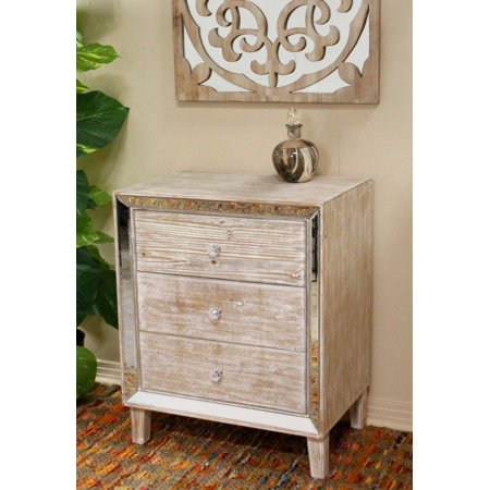 34' White Washed Accent Cabinet with 3 Drawers and with Antiqued Mirror Accents ()