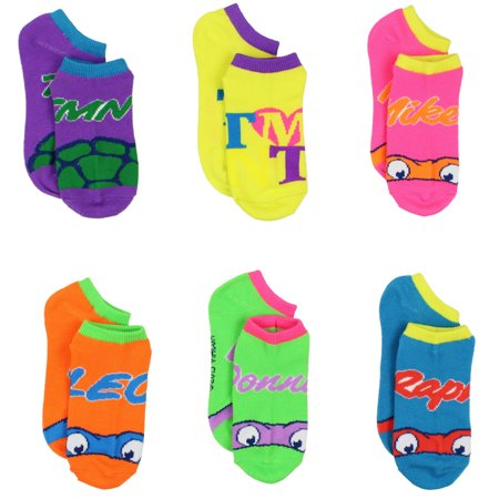 TMNT Teenage Mutant Ninja Turtles Womens Girls 6-pack Ankle Socks 5393QH