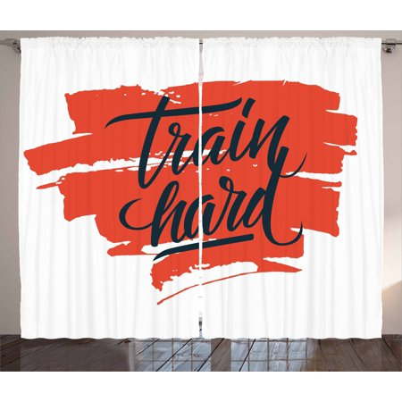 Fitness Curtains 2 Panels Set, Train Hard Inspirational Phrase on Brush Strokes Assiduity Determination, Window Drapes for Living Room Bedroom, 108W X 84L Inches, Scarlet Black White, by Ambesonne