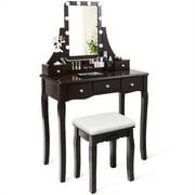 Giantex LED Vanity Table Makeup Dresser Desk w/Drawers &Cushioned Stool Black/Brown/White