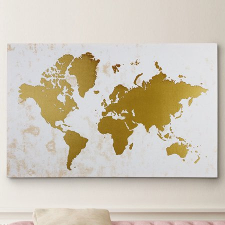 Wexford Home ''Champaign Gold Map'' Graphic Art on Wrapped Canvas ()