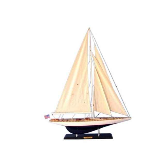 Handcrafted Decor J-Yacht-35-12 Wooden Modern Enterprise Limited Model Sailboat Decoration, 35 in. by Handcrafted Decor