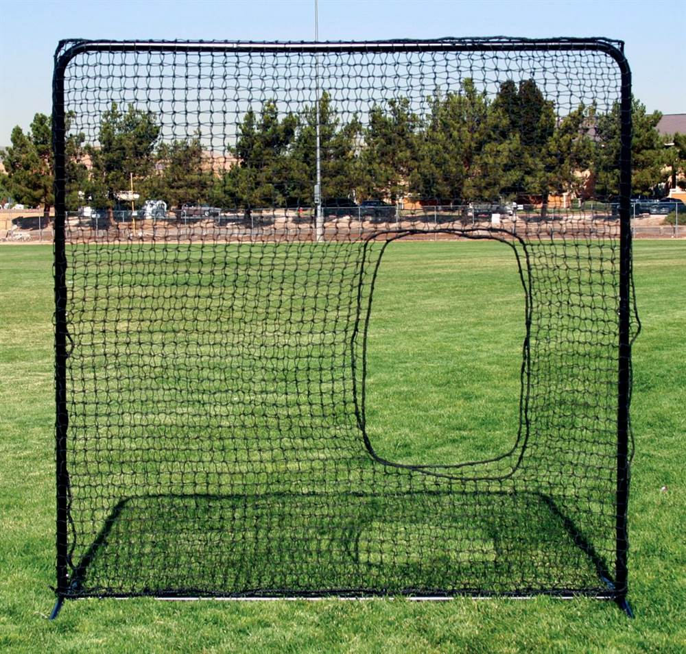 Softball Pitchers Square Net in Black w Tubular Steel Frame