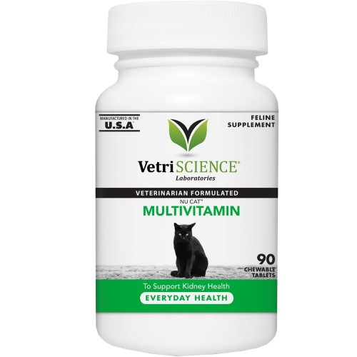 VetriScience Laboratories Nu Cat Multivitamin for Cats, 90 Chewable Tablets