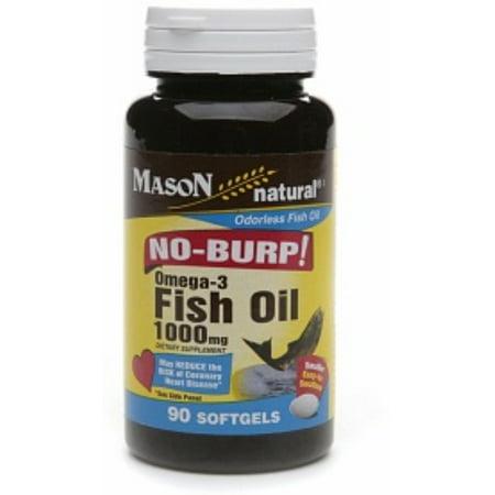 Mason Natural No Burp! Omega-3 Fish Oil, 1000mg, Small Softgels 90