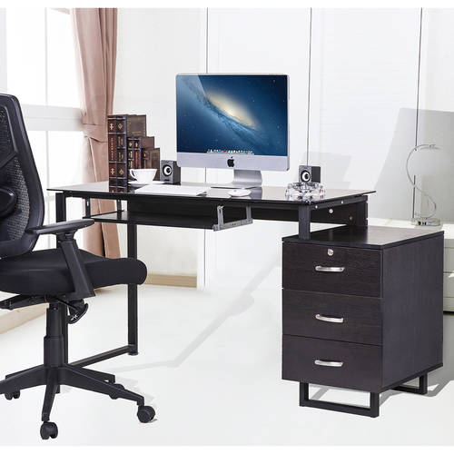 large glass computer desk office desk with keyboard tray and 3