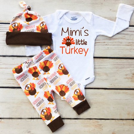 Thanksgiving Day Turkey Newborn Kids Baby Boy Girl Tops Romper Pants Hat 3Pcs Outfits Set Clothes