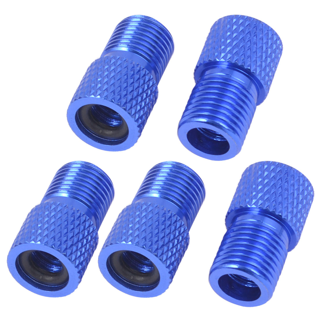 5 Pcs Bicycle Tube Pump Blue Aluminium Alloy Valve Adaptors Converters