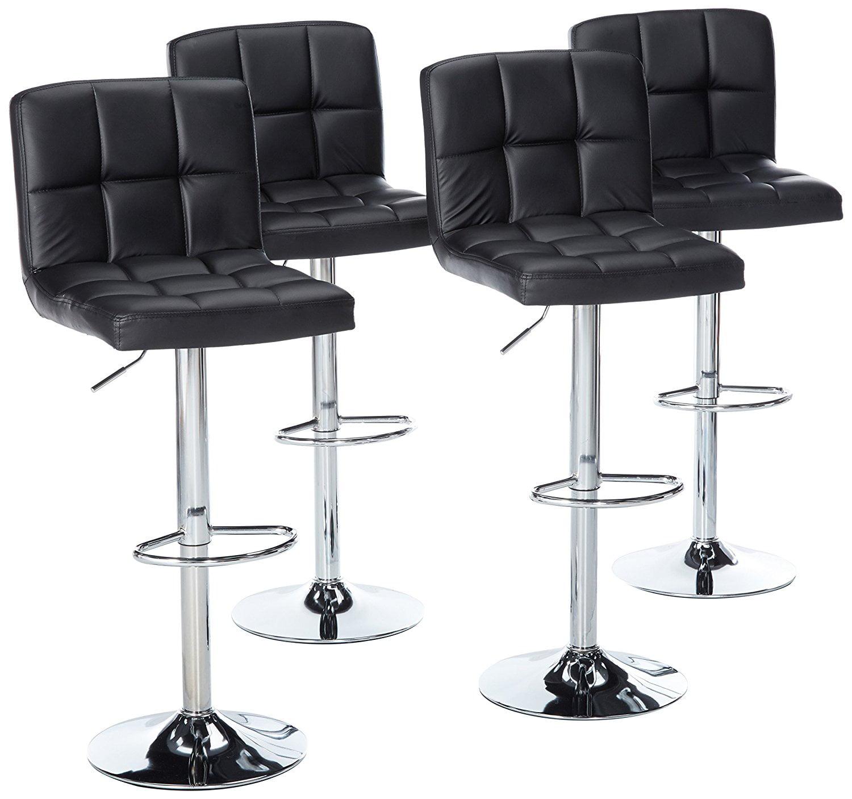 Fabulous Magshion Faux Leather Bar Stools Adjustable 360 Degree Swivel Backrest Footrest Barstool Set Of 4 Black Pabps2019 Chair Design Images Pabps2019Com