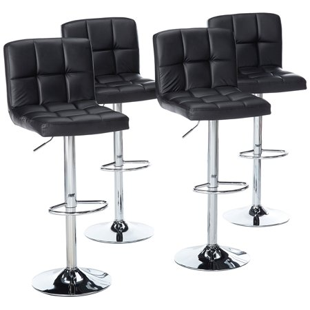 Magshion Faux Leather Bar Stools Adjustable 360 Degree Swivel Backrest Footrest Barstool Set of 4 Black