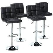Magshion Faux Leather Bar Stools Adjustable 360 Degree Swivel Backrest Footrest Barstool Set of 4 Black