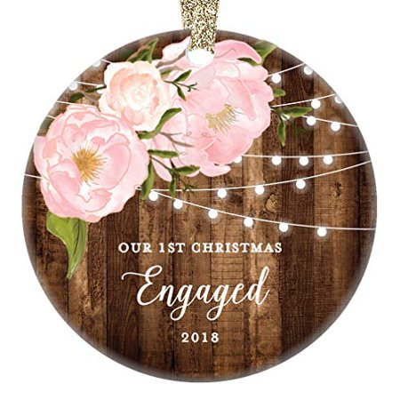 """Engagement Gifts for Her, Our 1st Christmas Engaged First Christmas Ornament 2019 Couple Pink Peonies Rustic Xmas Farmhouse Collectible 3"""" Flat Circle Porcelain w/Gold Ribbon & Free Gift Box 