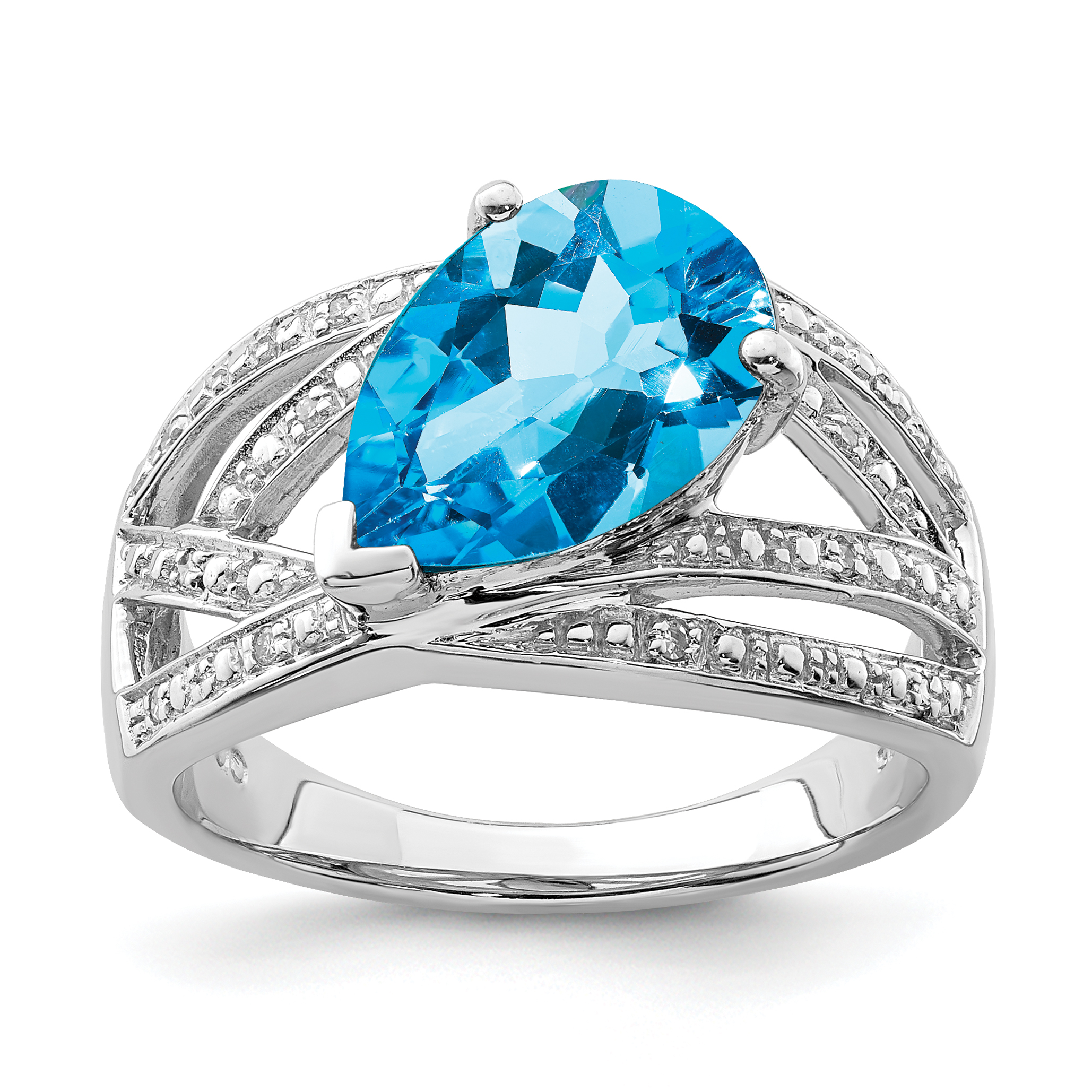 925 Sterling Silver Diamond London Blue Topaz Band Ring Size 9.00 Gemstone Fine Jewelry Gifts For Women For Her - image 2 of 2