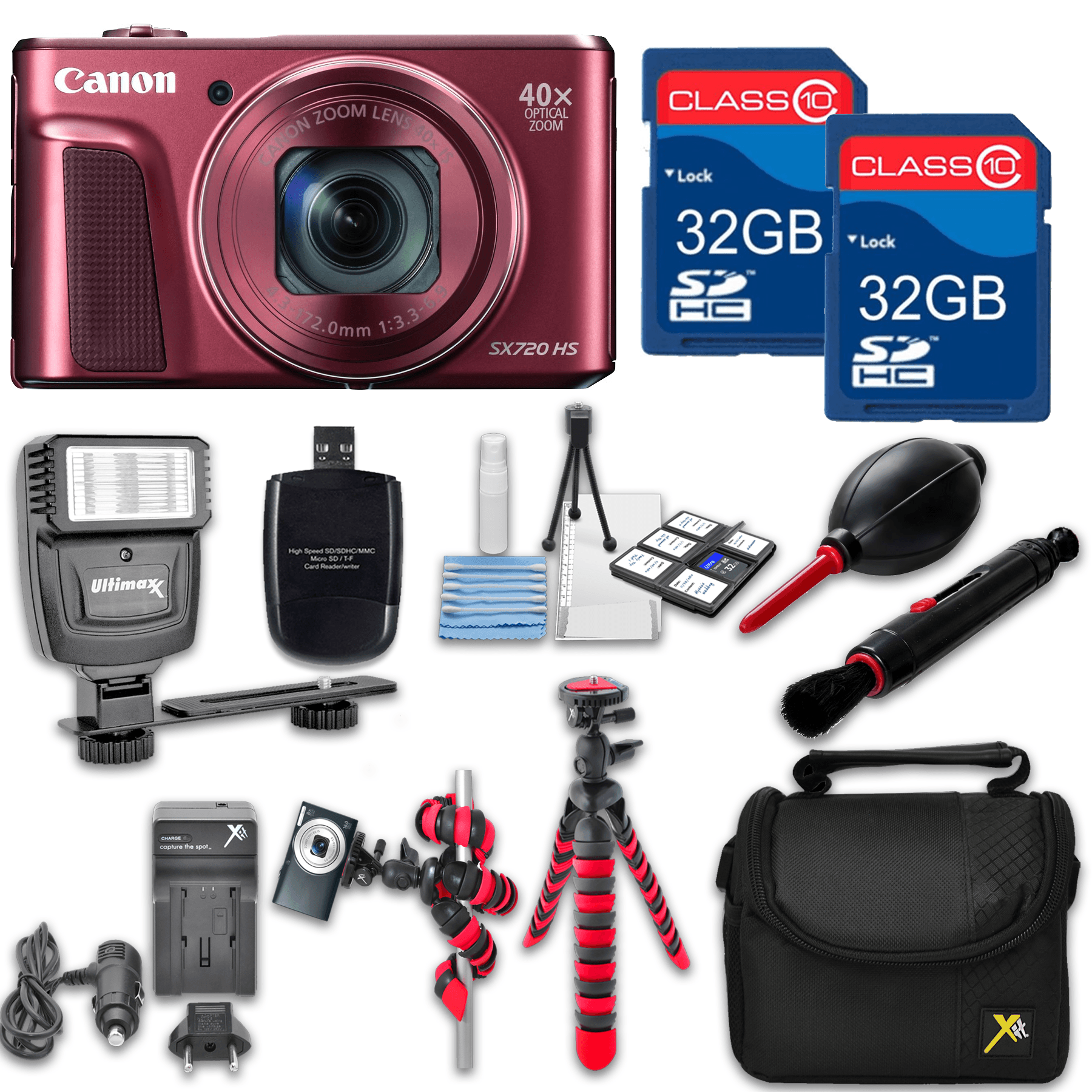 Canon Powershot SX720 (Red) HS Point and Shoot Digital Camera, W/ Case + 64GB Memory + Flash + Tripod + Case + Cleaning Kit + More