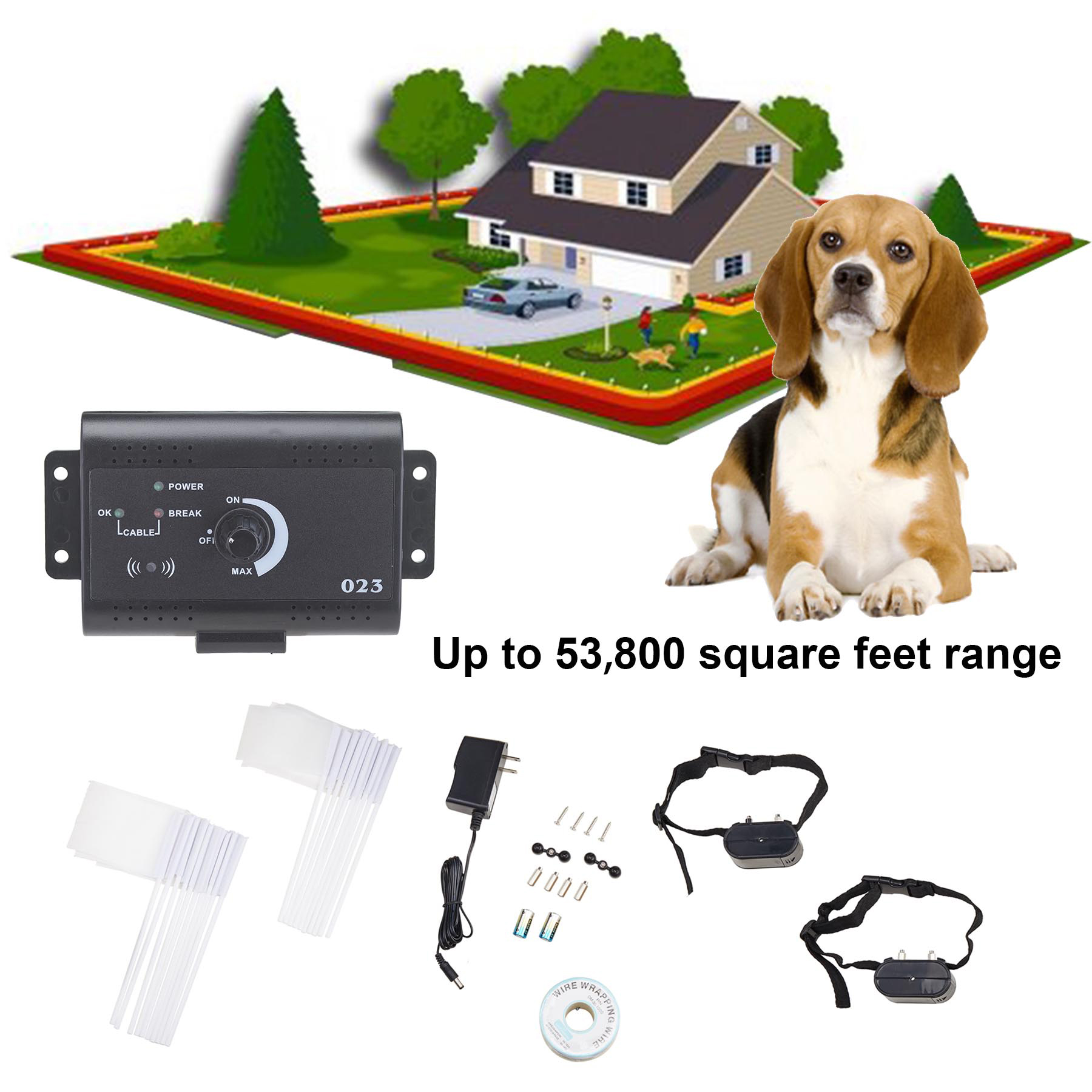 Banyan Underground Electric Dog Fence System Waterproof 2 Shock Collars for 2 Dogs