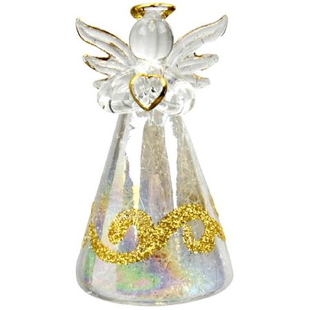 Studios Glass Lighted Color Changing Angels with Gold Glitter, Set of 2 By Red Carpet