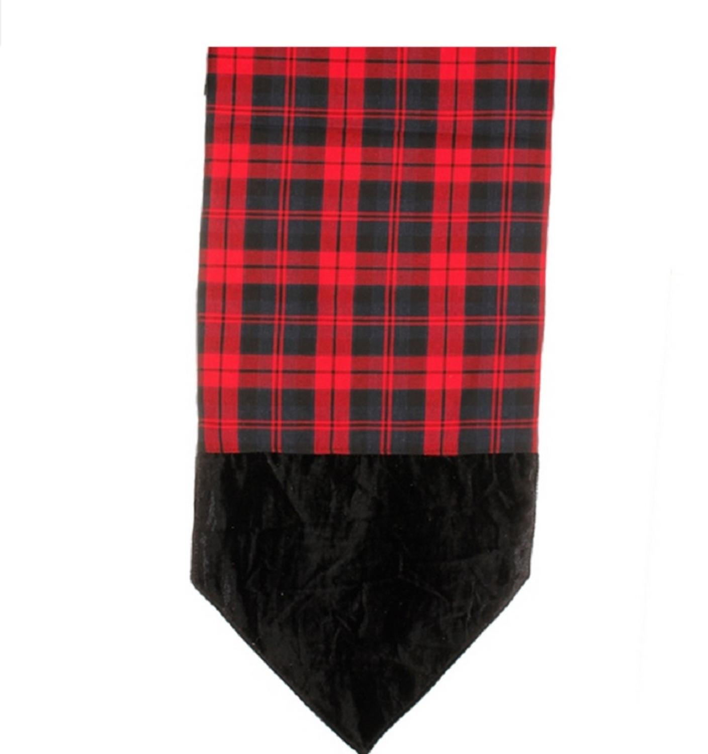 "72"" Alpine Chic Red and Black Plaid Table Runner with Velveteen Tips"
