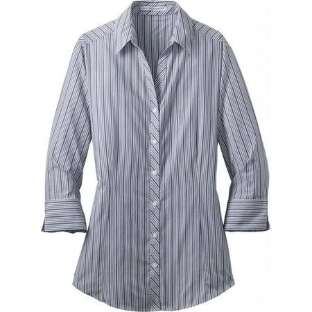 Port Authority Ladies Vertical Stripe 3/4 Sleeve Easy Care