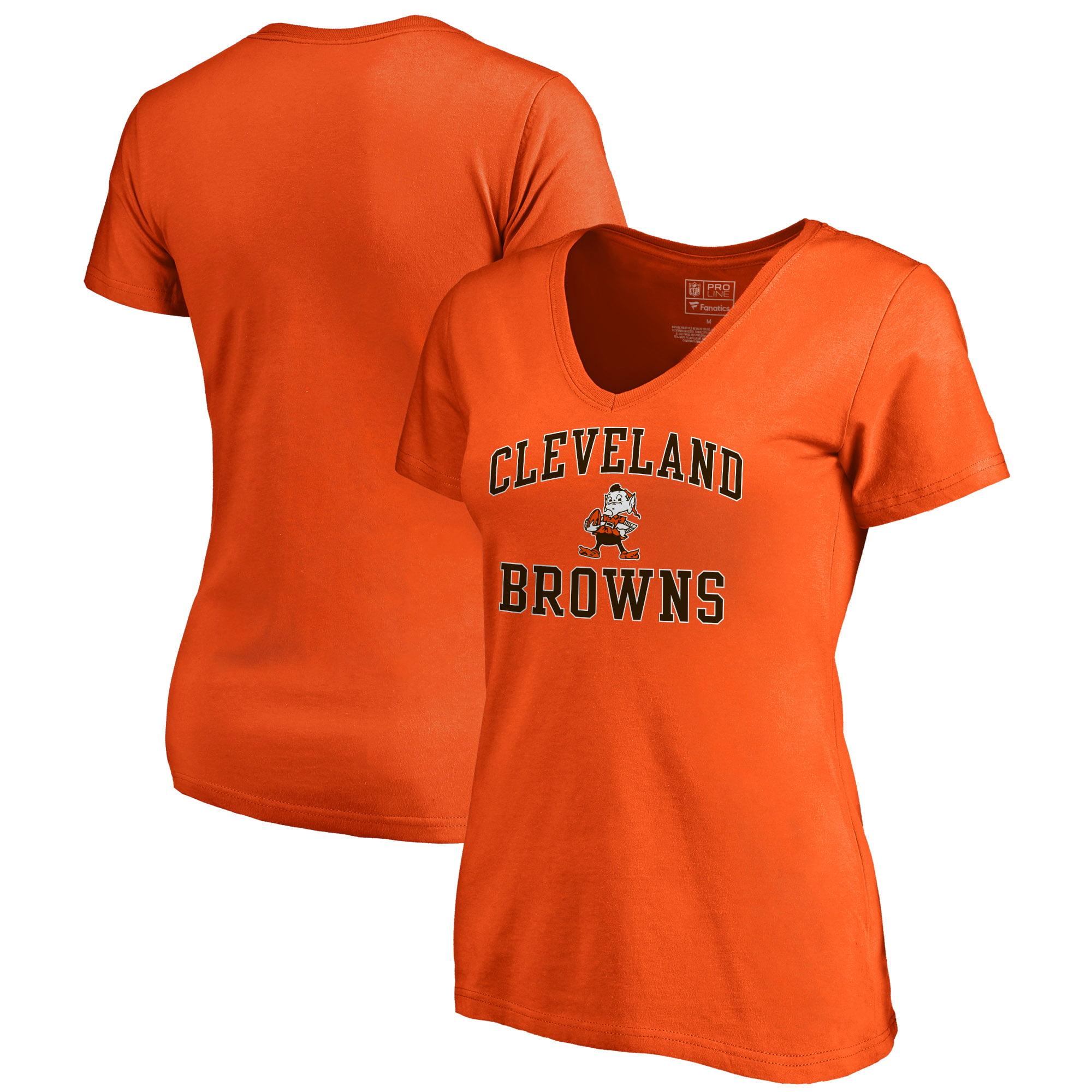 Cleveland Browns NFL Pro Line by Fanatics Branded Women's Vintage Collection Victory Arch Plus Size V-Neck T-Shirt - Orange
