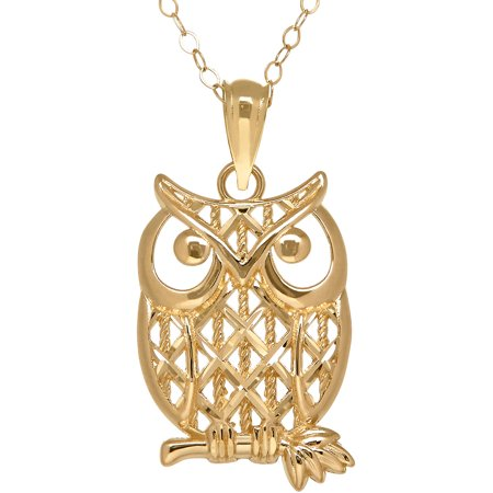 Simply Gold 10kt Gold Owl Pendant Necklace