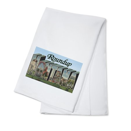 - Roundup, Montana - Large Letter Scenes (100% Cotton Kitchen Towel)