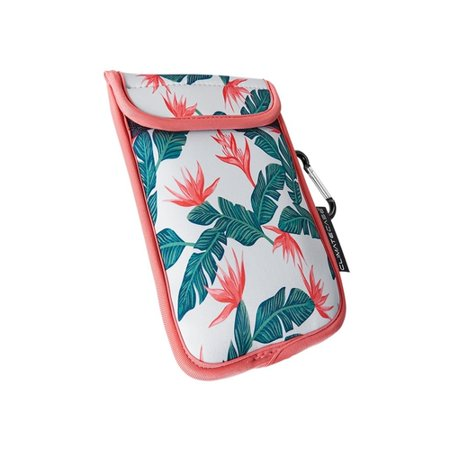 Coastal ClimateCase - 800 Series Pouch for Most Cell Phones - Tropical Vibes Compatible with most cell phones; neoprene construction; freezeproof; heat-resistant; drop-resistant; carabeener; flap closure