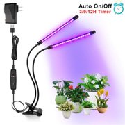 AOOLIVE ZX-MINI-30W Grow Light for Indoor Plants 2 Head Divided Adjustable Goose Neck Clip-On Desk 40LED Black