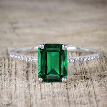 1 Carat emerald cut Emerald Solitaire Engagement Ring in White - Emerald Cut Emerald Solitaire
