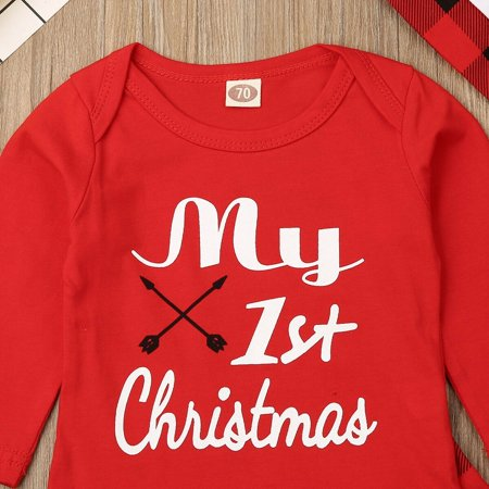 Xmas 3Pcs Clohes for Newborn Baby Girls Boys Outfits My 1st Christmas Red Long Sleeve Romper Tops Plaid Pants Hat 0-18M - image 3 of 5