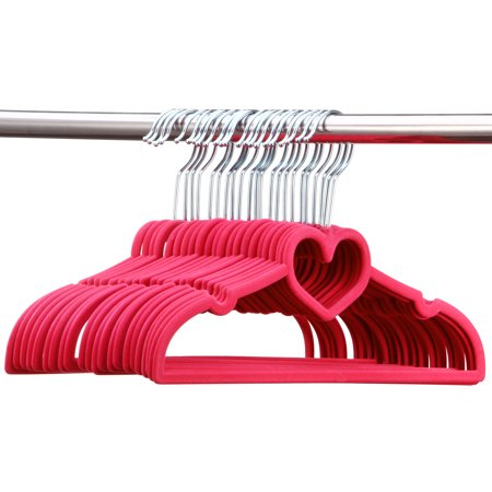 Image of Allieroo 30 Pack Clothes Hangers PINK Velvet Hangers LOVE SHAPED Clothes Hanger Ultra Thin No Slip
