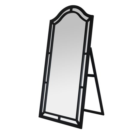 Chic Home Gale Floor Mirror Free Standing Satin Finish Floor Length Ruched Satin