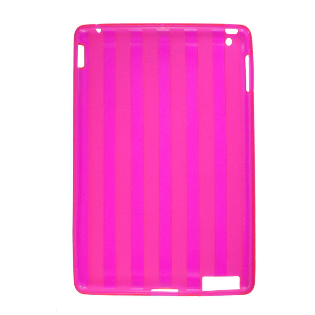 Unique Bargains Unique Bargains Fuchsia Amaranth Soft Plastic Vertical Stripe Cover for iPad 2G 3G