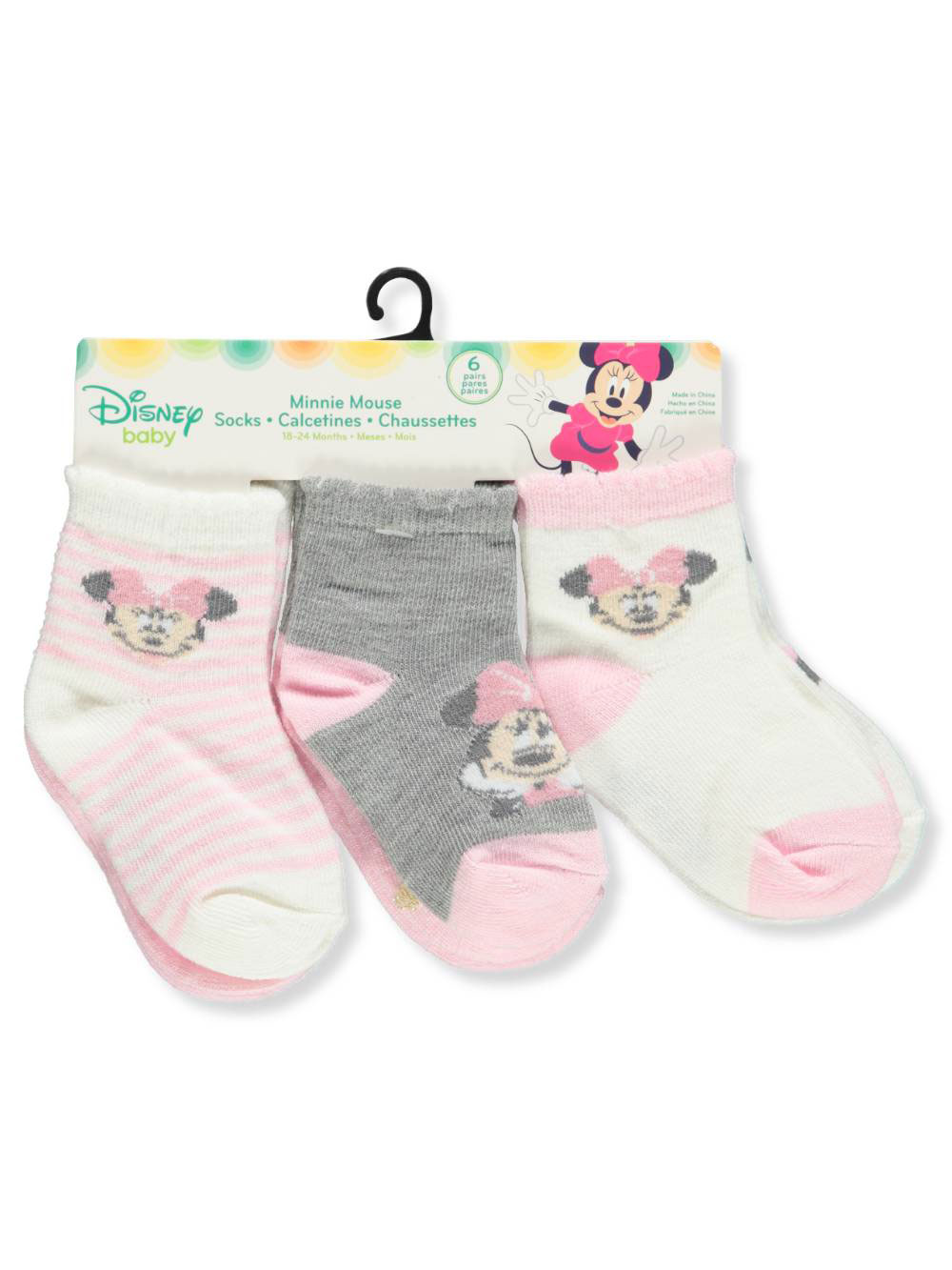 Disney Minnie Mouse Baby Girls' 6-Pack Crew Socks