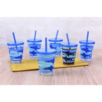6-Pack Mainstays Boys Shark Melamine Tumbler with Straw and Lid Set