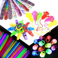 98-pcs Party Gift Favors Set for Kids, Includes 50 Glow Sticks, 12 Whistles, 12 Slap Bands, 12 Flashing Rings