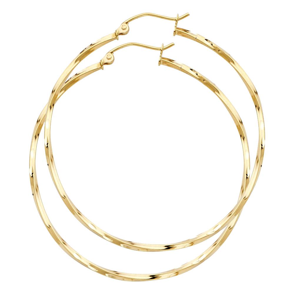 Solid 14K Yellow Gold Curled Hoop Earrings