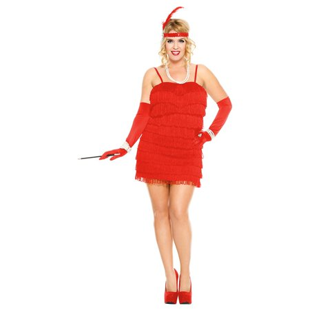1920\'s Flapper Adult Costume Red - Plus Size 3X/4X