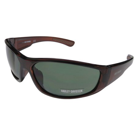 New Harley-Davidson Hd 0108v Mens Designer Full-Rim 100% UVA & UVB Transparent Brown Spectacular Affordable Sunnies Shades Frame Green Lenses 66-15-125 Sunglasses/Sun (Affordable Sunglasses)