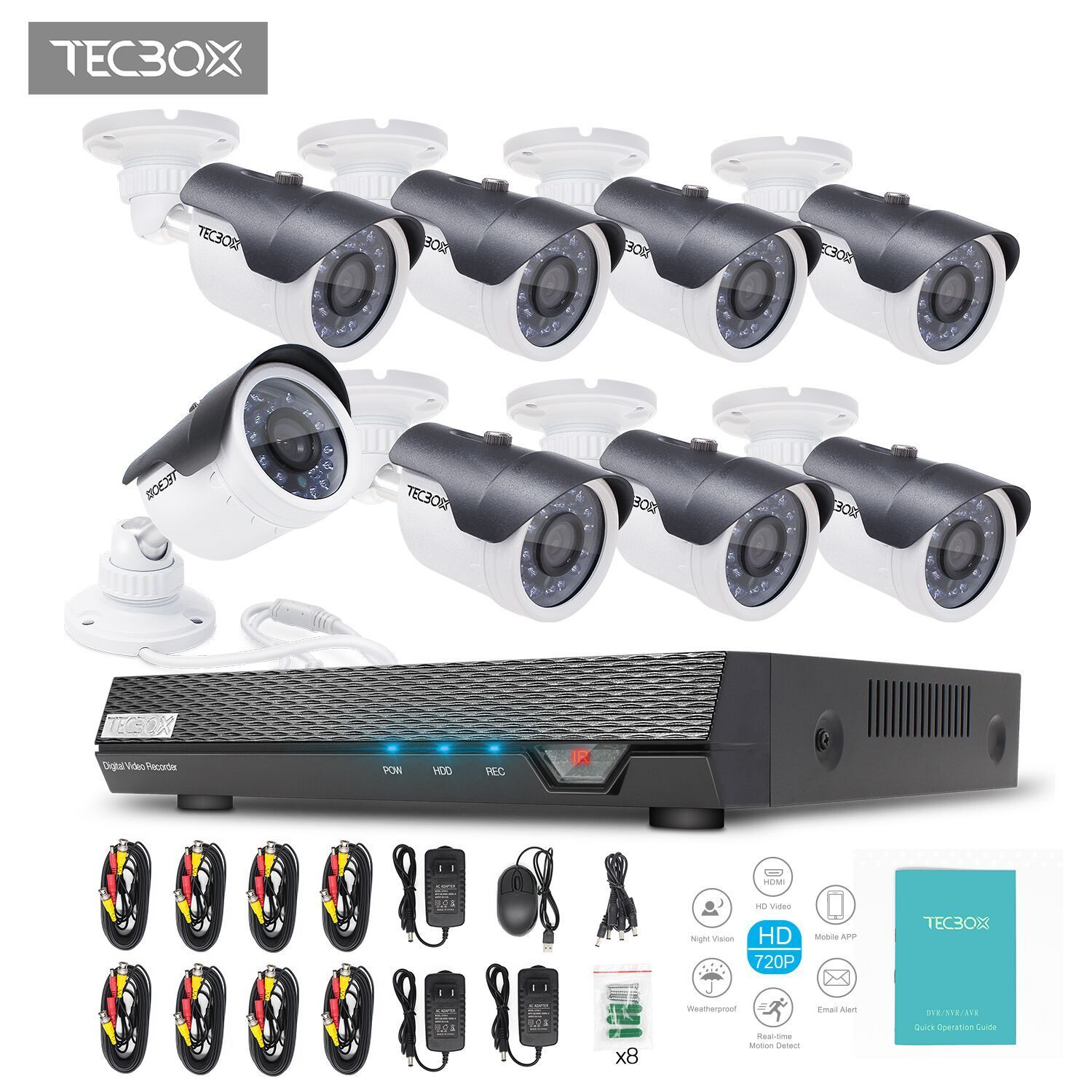 TECBOX 8 CH Wired  Home Surveillance Camera System AHD 720P Outdoor Night Vision Cameras Remote View Motion Detection NO Hard Drive