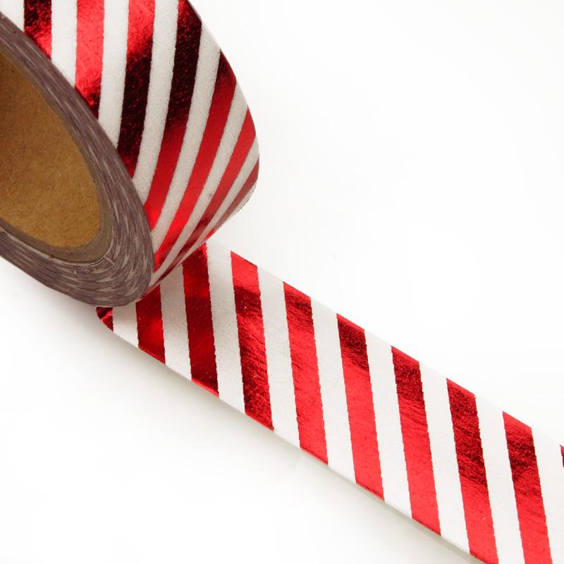 "9/16"" X 10 Yards Red/White Slim Diagonal Stripe Washi Tape  by Paper Mart"