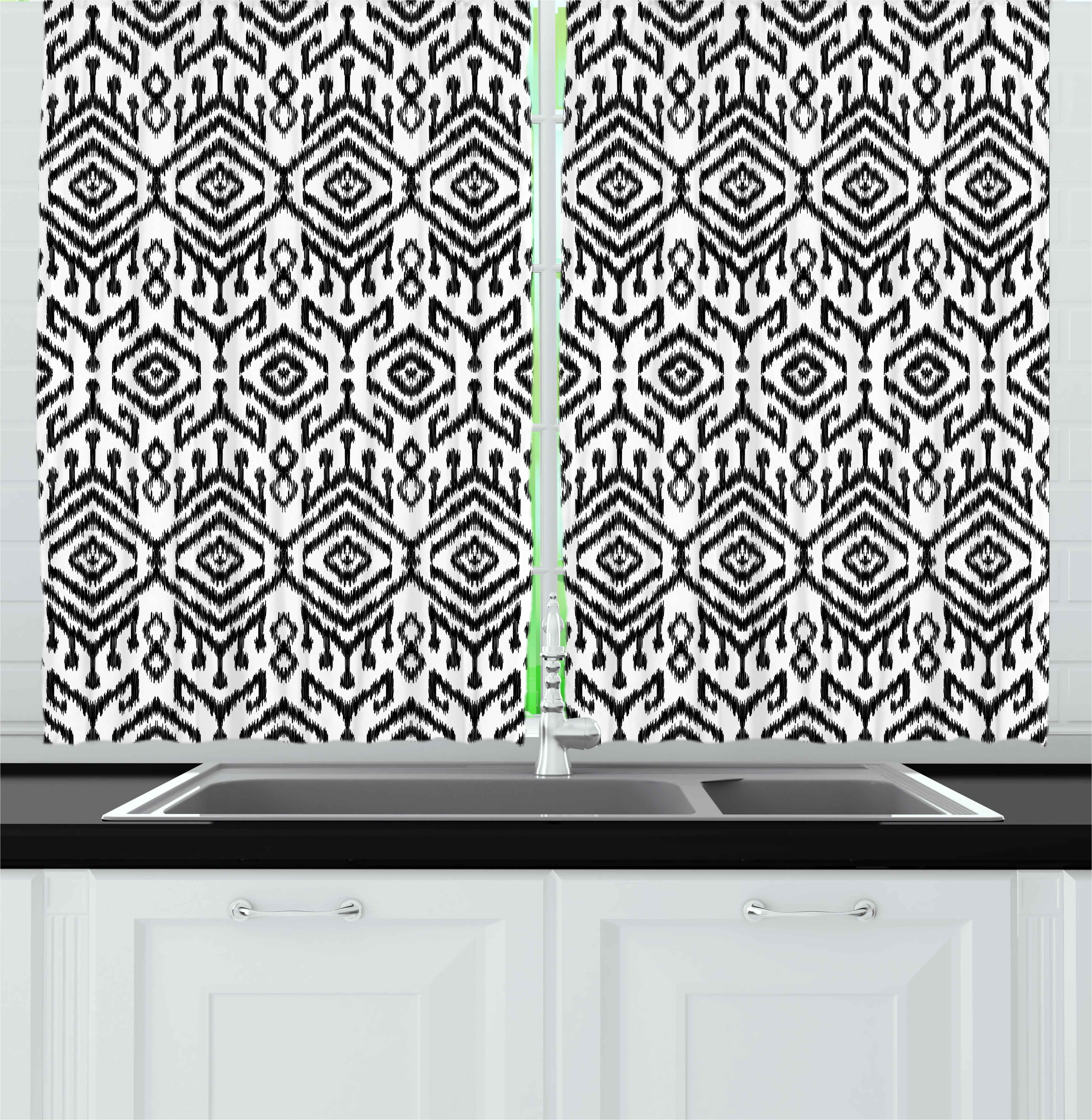 Black and White Curtains 2 Panels Set, Monochrome Ikat Pattern Bohemian  Ethnic Authentic Chevron Modern Scribble, Window Drapes for Living Room ...