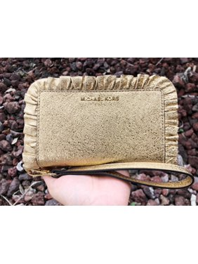 7582319ea3d6 Product Image Michael Kors Jet Set Large Flat Multifunctional Phone  Wristlet Wallet Gold