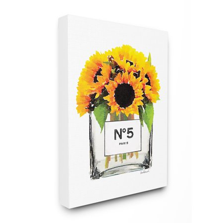 The Stupell Home Decor Collection Perfume Bottle Vase with Yellow Sunflowers Stretched Canvas Wall Art, 16 x 1.5 x 20